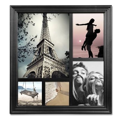 "Collage Frame Glass 5x7""5-opening Multiple Picture Wall Hanging Decorative Black"