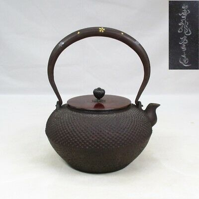 F070: Japanese iron kettle TETSUBIN with inlay and ARARE pattern by Kinryu-do