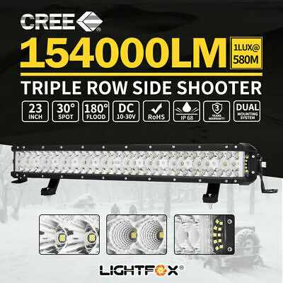 23inch CREE LED Light Bar Side Shooter Triple Row Spot Flood Combo ATV SUV 20""