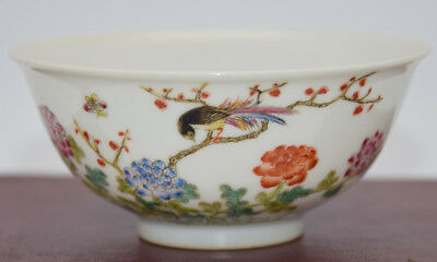 A103 Rare Chinese Famille rose Porcelain Pastel Flowers Bowl Mark XuanTong