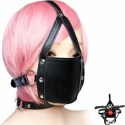 Faux Leather Mask Open Mouth Gag Ball Hood Headgear Harness Eye Roleplay Cosplay
