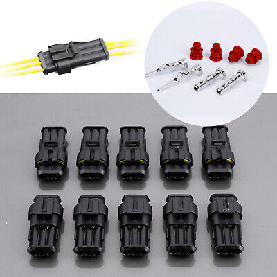 10 Kit 3 Pin Way Super Seal Car Truck Waterproof Electrical Wire Connector Plug