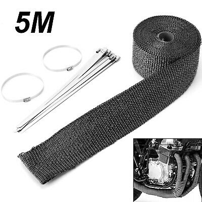 "2"" x 5M CARS BLACK HEAT WRAP EXHAUST INSULATING TAPE DOWNPIPE MANIFOLD WITH TIES"