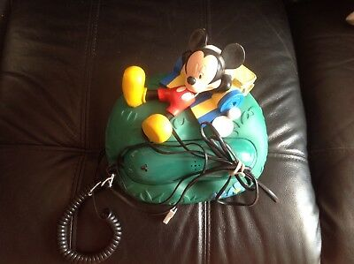 VINTAGE Mickey Mouse House Phone Wire Cord Green Picnic Walt Disney Telephone
