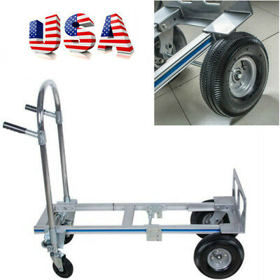 Hand Truck Moving Dolly 2-in-1 Convertible 4-Wheel Platform Steel Cart