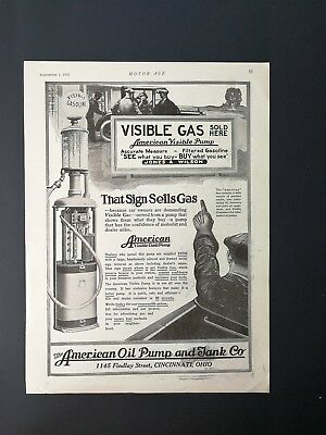 Vintage 1921 The American Oil Pump & Tan Co. Gas Pump - Full Page AD