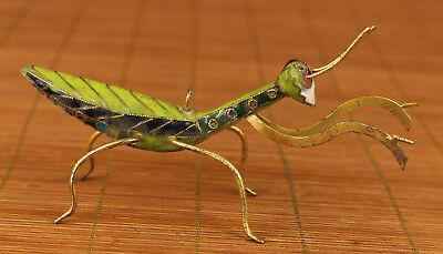Valuable chinese old Cloisonne enamels Hand Carved Mantis Statue Netsuke Collect
