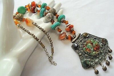 Large vintage silver metal, carnelian & turquoise bead pendant necklace
