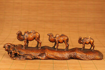 valuable chinese old Boxwood Hand Carved camel travel Statue Big netsuke ornamen