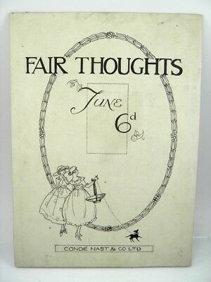 Early 20th century pen & ink drawing illustration Fair Thoughts Conde Nast & Co