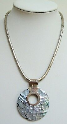 Stunning large vintage sterling silver & abalone pendant + heavy sterling chain
