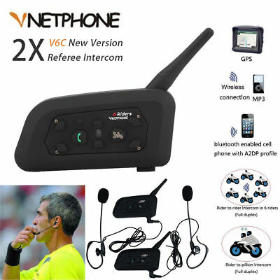 2pcs 1200M BT Full Duplex Intercom Two-way Football Referee Coach Headset Walkie