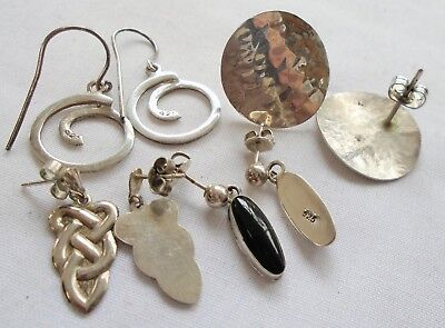 Four pairs good quality vintage sterling silver earrings (Celtic, onyx etc)