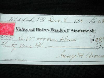 1898 check w tax stamp, New York, Kinderhook bank