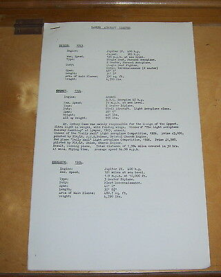 Hawker Aircraft   Specification List 1923/50 Hawker Siddeley Press Release