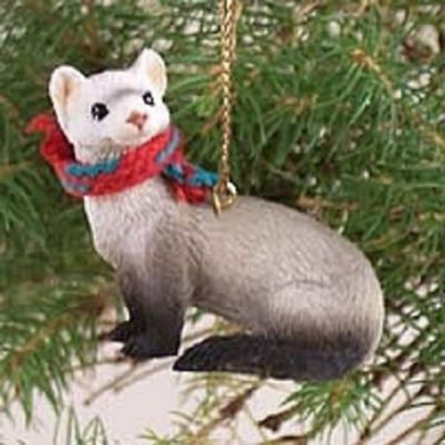 Resin Ferret Tiny One Scarf Ornament