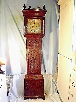 "18c Carved Oak Longcase Clock Of Small Size ""Rice Of Bristol"""