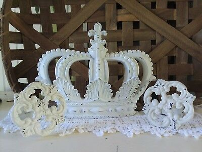 White CROWN BED CANOPY SET Bedroom Nursery Party Table Decor Wedding Chic Shabby