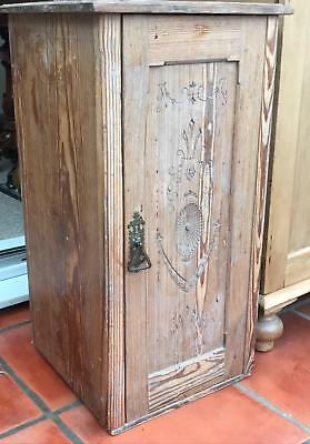Antique Victorian Striped Pine Pot Cupboard Lamp Stand Bedside Cabinet