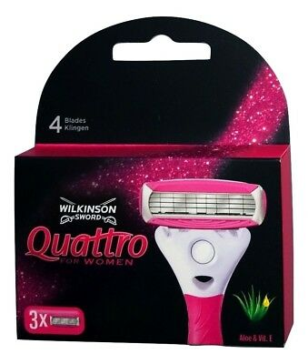 Wilkinson Sword Quattro for Woman Rasierklingen mit Aloe+Vitamin E 3er Pack