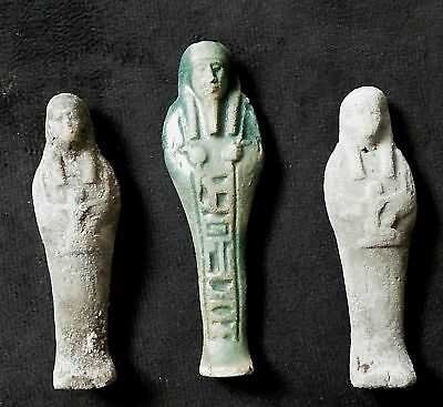 ANCIENT ANTIQUE Egyptian three FAIENES USHABTI (1500–300 BC