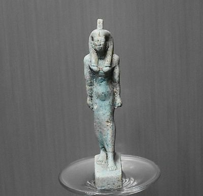 ANCIENT ANTIQUE Egyptian Blue Faience QUEEN statue 1500–300 BC