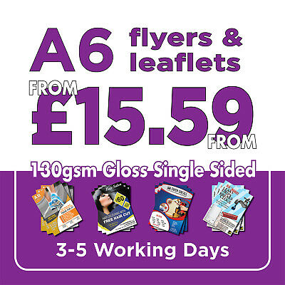 1000 A6 Full Colour Single Sided Flyers / Leaflets Printed 130gsm Gloss