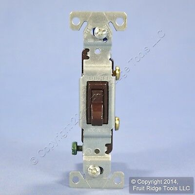 Cooper Brown Quiet Toggle Wall Light Switch Single Pole 15A 120V Bulk 1301-7B