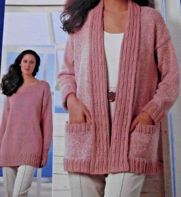 447c7430ae7bed Ladies Aran Cable Sweater And Edge To Edge Cardigan 30