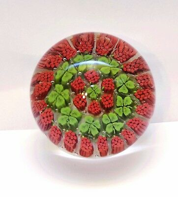 Paperweight Glass Murano Italy Millefiori Red Green Four Leaf Clover