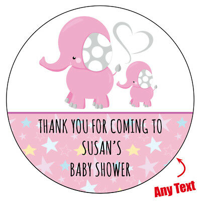 48 x Personalised Baby Shower Mommy Elephant Stickers labels Party bag 246