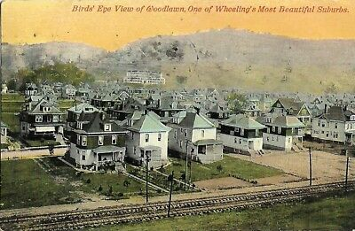 Antique Post Card Birds Eye View Woodlawn Suburbs Wheeling West Virginia WV 1911