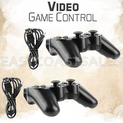 2x Black Wireless Bluetooth Game Controller For Sony PS3 Playstation 3 + Charger