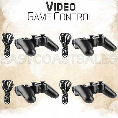4x Black Wireless Bluetooth Game Controller For Sony PS3 Playstation 3 + Charger