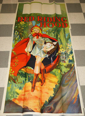 Vintage 3 Sheet 1930s Red Riding Hood Pin-Up Stone Lithography Theater Poster NR