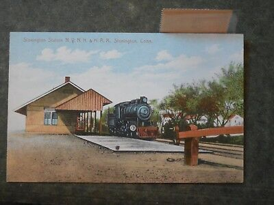 Post Card  H85650 Stonington, CT Railroad Station with enclosed stamp c-est 1910