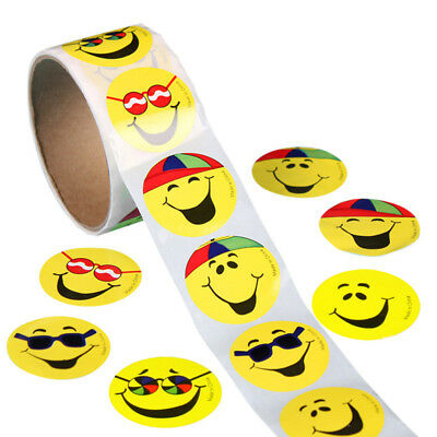 100pcs/set Yellow Smiley Face Circle Stickers Labels for School Teachers