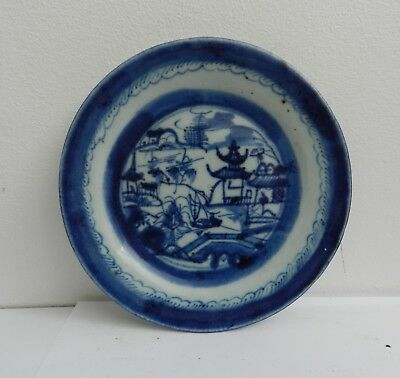 Antique Chinese Blue & White Small Canton Plate / Dish