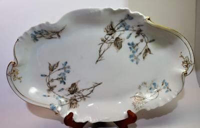 "Antique CFH GDM LIMOGES France Bone China Handpained Blue FLOWERS 14"" Oval Plate"