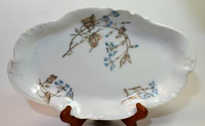 "Antique CFH GDM LIMOGES France Bone China Handpained Blue FLOWERS 12"" Oval Plate"