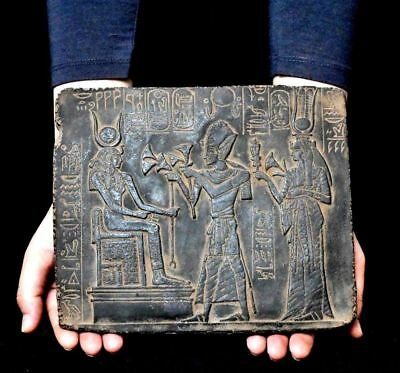 ANCIENT ANTIQUE Egyptian plaque Ramses Offering Lotus to Isis Stela Relief )