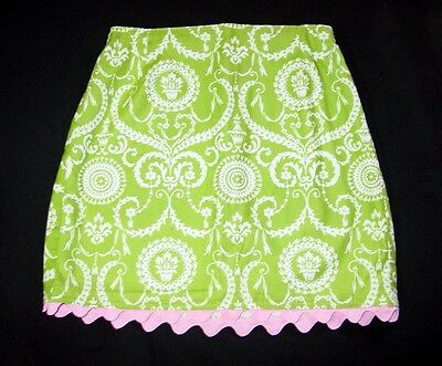 Girls Sixth Alice Skirt 8 Lime Green Pink Trim Boutique Cotton PP26