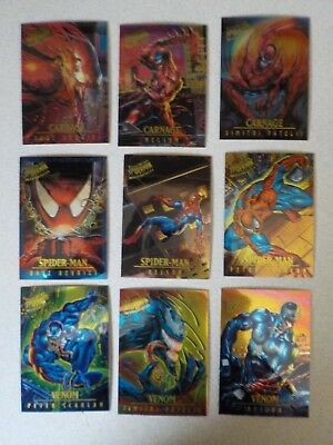 1995 Fleer ULTRA Spider-Man INSERT MASTERPIECES 9 Card Set VENOM CARNAGE