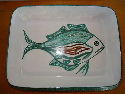 Grand Plat Vallauris Signe Robert Picaud Decor Au Poisson Zoomorphe 40 Cm