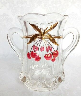 Vintage Mosser Glass Cherry & Cable Thumbprint Large Sooner Ruby Red Flash& Gold