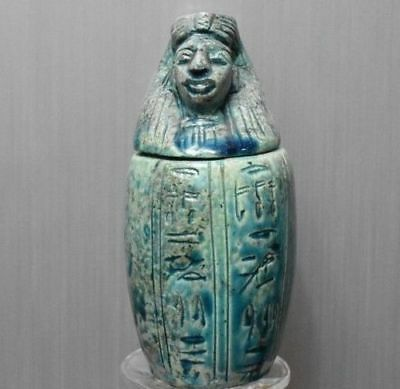 ANCIENT EGYPT ANTIQUE  EGYPTIAN faience son of Horus Canopic Jar Imsety (1500BC