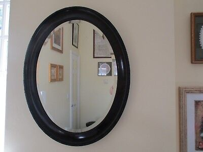 Large Victorian decorative oval bevelled wall mirror