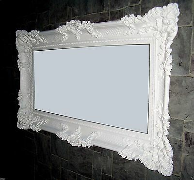 XXL Espejo de Pared Blanco 96x57 Antiguo Barroco Shabby Chic Pasillo Vanidad