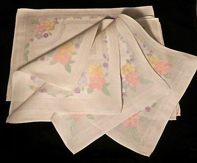 5 Irish Linen Damask Placemats, Hand-Painted by Old Bleach, Florals  12x18""