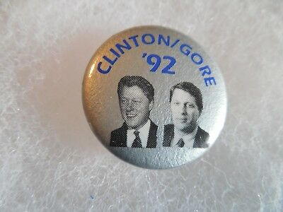 Presidential Bill Clinton Pin Back Campaign Button President 1992 Gore Candidate